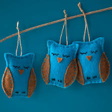cyber monday deal 20 set of 3 mini owl ornaments teal and