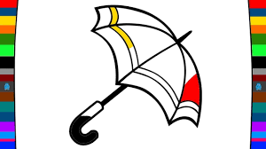 how to draw a umbrella drawing and coloring pages for kids youtube