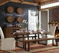 Pottery Barn Wall Phone Griffin Reclaimed Fixed Table U0026 Bench 3 Piece Dining Set Pottery