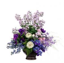 silk decor home accents lavender and purple silk flower arrangement with roses and anemone