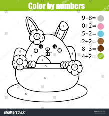 coloring page easter bunny character color stock vector 603617789