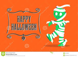 vector mummy monster walking and happy halloween banner on ora