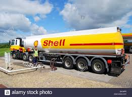Fuel Truck Driver A Petrol Tanker Driver Working Refilling Shell Petrol Station