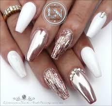 luminous nails glamorous rose gold chrome u0026 white gel nails
