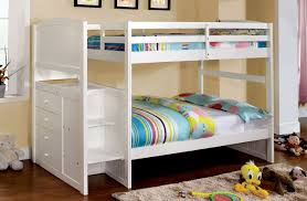 Twin And Full Bunk Beds by Paloma White Twin Over Full Bunk Bed With Steps Ocfurniture Com
