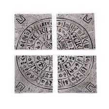 Drink Coasters by Handmade Drink Coasters Set Of 4 Metal Engraved Phaistos Disk