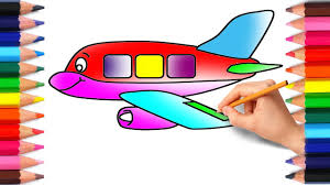 airplane coloring pages drawing for kids to learn colors with