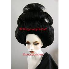 Halloween Costumes Wigs Japanese Geisha Big Hair Styled Black Wig Theatrical