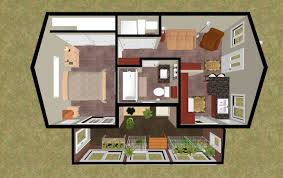 3d top view of the 424 sq ft