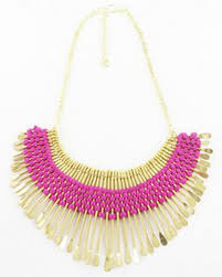 pink collar necklace images Gold pink egyptian matchstick collar necklace 7353