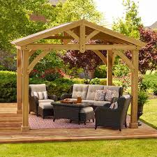 Patio Gazebo Yardistry Avery Pavilion 10 Ft W X 12 Ft D Solid Wood Patio