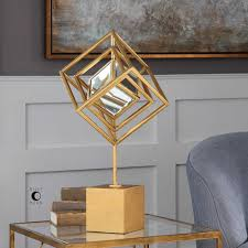 modern gold rotating cubes sculpture with mirror center scenario