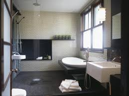 modern bathroom shower ideas bathroom airy modern bathroom with porcelain freestanding tub
