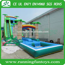 18ft backyard tidal wave inflatable water slide with pool for sale
