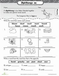 practice reading vowel diphthongs ou phonics worksheets
