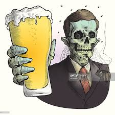 cartoon beer pint zombie wearing suit drinking glass of beer vector art getty images