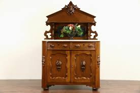 Antique Server Buffet by Victorian Carved Walnut 1870 Antique Marble Top Sideboard Server