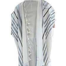 prayer shawls from israel buy gray black and silver striped maalot wool tallit prayer shawl