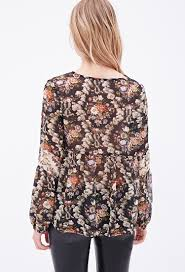 floral chiffon blouse lyst forever 21 floral chiffon peasant blouse