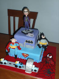the joker batman superman and spiderman cakecentral com