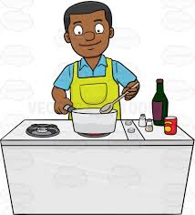 Men Cooking Aprons A Black Man Looks Happy At The Yummy Dish He Is Cooking