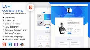 Html5 Resume Levi Vcard Cv Resume U0026 Portfolio Bootstrap 4 Themeforest
