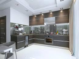 cuisine brun et blanc contemporain de cuisine dans le brun avec les planchers de mur et de
