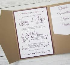 rustic kraft wedding invitation pocket country twine purple