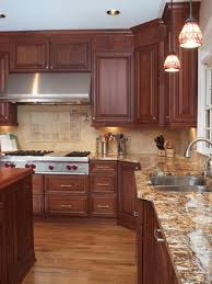 yellow and brown kitchen ideas cherry kitchen cabinets with gray wall and quartz countertops ideas