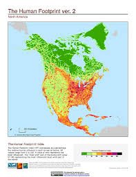 North America World Map by Maps Global Human Footprint Geographic V2 Sedac