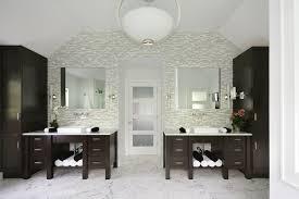home design white brick wallpaper bath cabinetry stylish
