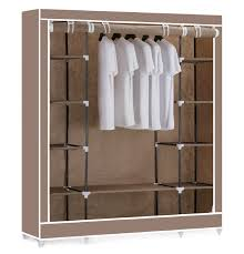 clothes cupboard vinsani triple canvas clothes wardrobe hanging rail with storage