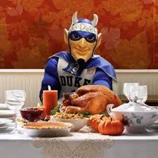blue at thanksgiving dinner duke