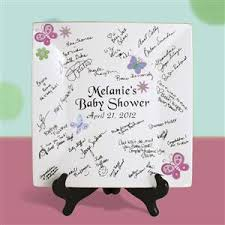 autograph plate 12 inch square bridal or baby shower autograph plate with