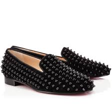 cheap christian louboutin rolling spikes flat suede women loafers