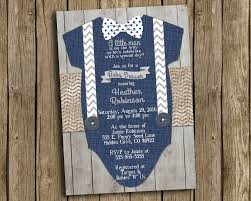 boy baby shower invitation navy blue gray bow tie suspender baby