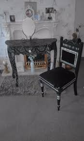 gorgeous black n silver shabby chic dressing table mirror and
