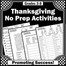 thanksgiving worksheets thanksgiving no prep printables sub plans