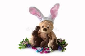 chocolate bunny ears stuffed bunny and chocolate bunnies stock photo image of