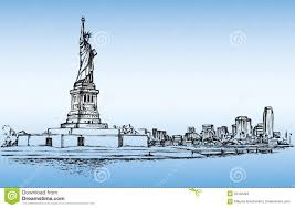 new york usa skyline sketch nyc city silhouette with liberty m