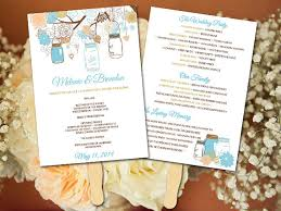 Fan Wedding Program Template Diy Wedding Fan Program Template Mason Jar Wedding Fan Peach