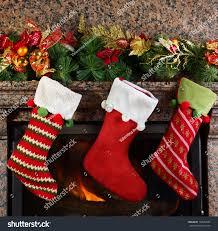 Stocking Christmas Stocking On Fireplace Background Stock Photo 162542435