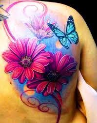 butterfly and flower tattoos on back flowertattoosonback