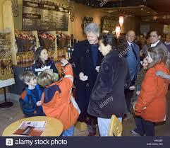chapaqua ny president bill clinton with customers at a starbucks coffee shop
