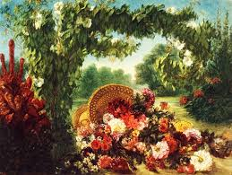 basket of flowers delacroix basket of flowers in a park collotype print