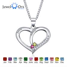 Personalized Pendant Online Shop Personalized Name Diy Birthstone Heart 925 Sterling