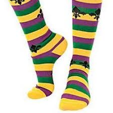 mardi gras socks gras striped knee socks w fleur de lis design