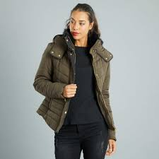 hooded padded jacket with fur lined high collar women size 34 to