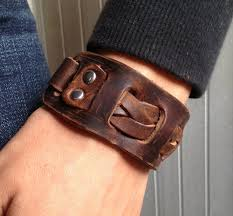 leather wrist bracelet images Men 39 s brown leather cuff bracelet leather wrist band wristband jpg