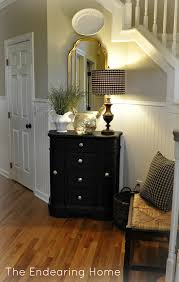 Black Foyer Table Unique Black Painted Foyer Table With Drawer As Well As Drum Shade